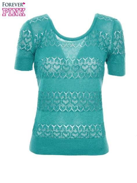 Zielony ażurowy sweterek w stylu retro                                  zdj.                                  2