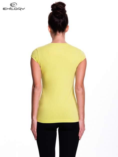 Zielony damski t-shirt sportowy basic                                  zdj.                                  4