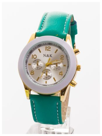 Zielony damski zegarek z ozdobnym tachometrem                                  zdj.                                  1