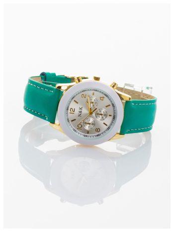 Zielony damski zegarek z ozdobnym tachometrem                                  zdj.                                  2