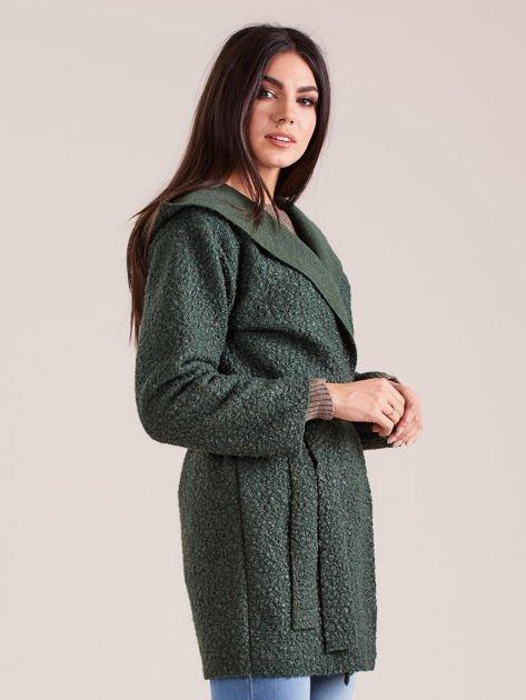 Zielony dzianinowy płaszcz z kapturem                              zdj.                              3