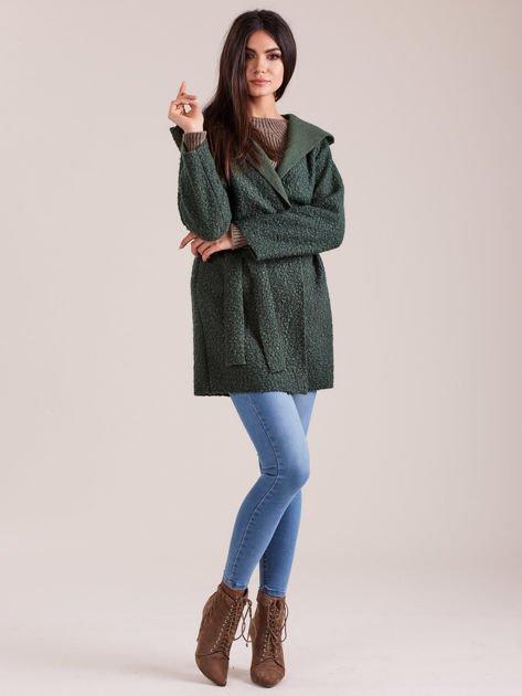 Zielony dzianinowy płaszcz z kapturem                              zdj.                              4