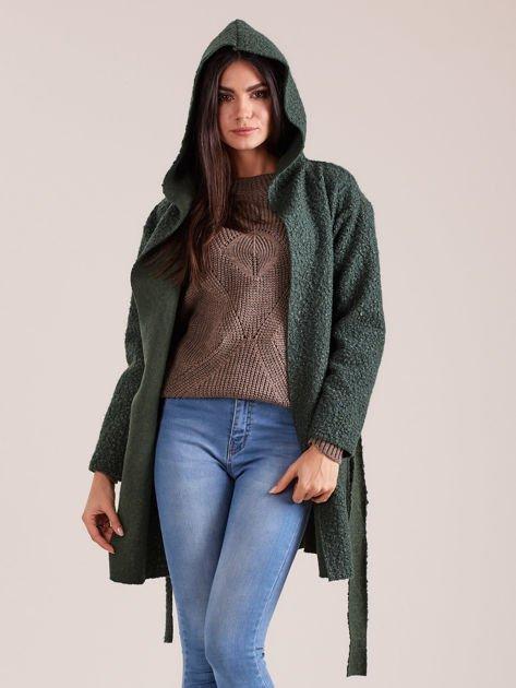 Zielony dzianinowy płaszcz z kapturem                              zdj.                              6