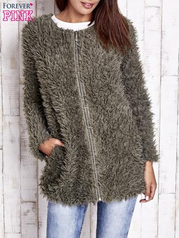 Zielony futrzany sweter kurtka na suwak                                  zdj.                                  4