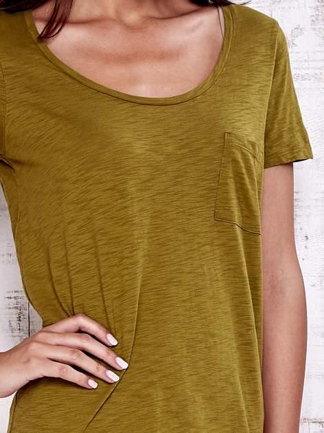 Zielony gładki t-shirt basic                                  zdj.                                  5