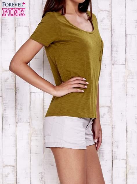 Zielony gładki t-shirt basic                                  zdj.                                  3