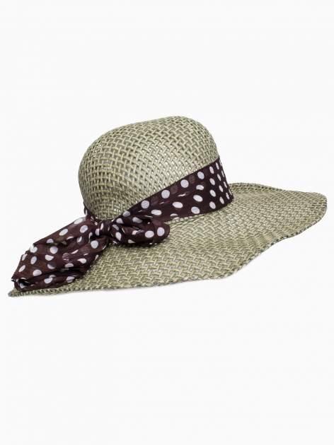 Zielony kapelusz słomiany z dużym rondem i apaszką w grochy                                  zdj.                                  4