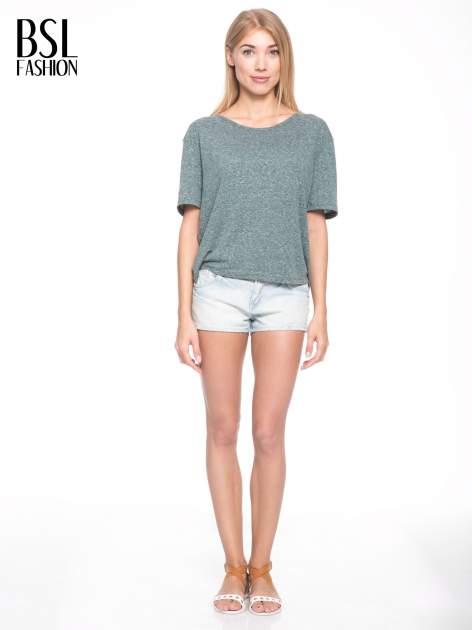 Zielony melanżowy t-shirt o luźnym kroju                                  zdj.                                  6