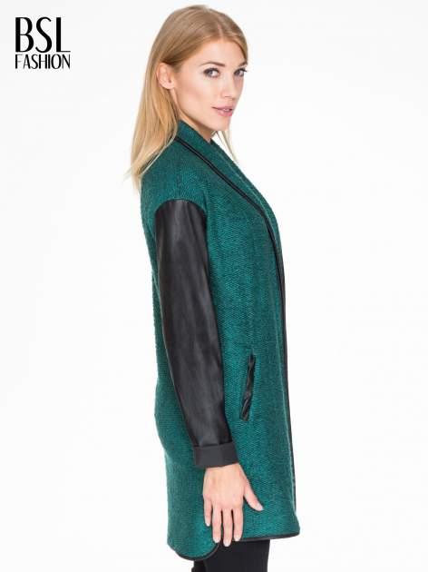 Zielony otwarty płaszcz ze skórzanymi rękawami                                  zdj.                                  3
