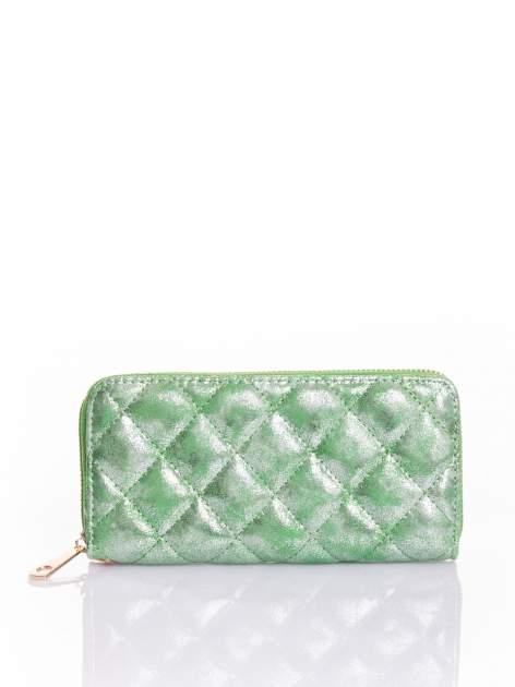 Zielony pikowany portfel