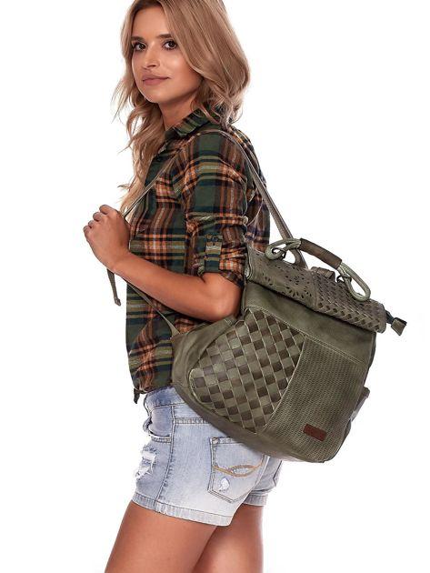 Zielony plecak damski z eko skóry z plecionką i ażurowaniem                              zdj.                              2