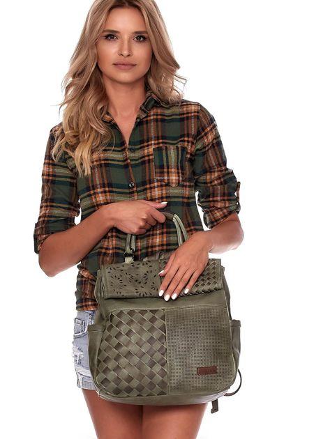 Zielony plecak damski z eko skóry z plecionką i ażurowaniem                              zdj.                              4