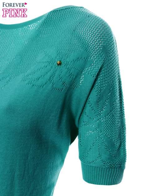 Zielony sweter z ażurową górą i krótkim rękawkiem                                  zdj.                                  6