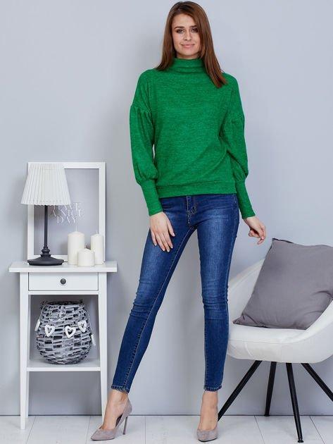 Zielony sweter z szerokimi rękawami                              zdj.                              4