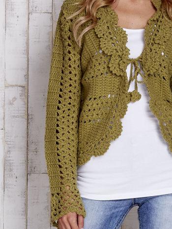 Zielony sweter z wiązaniem                                  zdj.                                  5