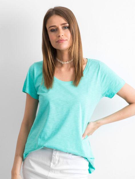 Zielony t-shirt damski basic                              zdj.                              1
