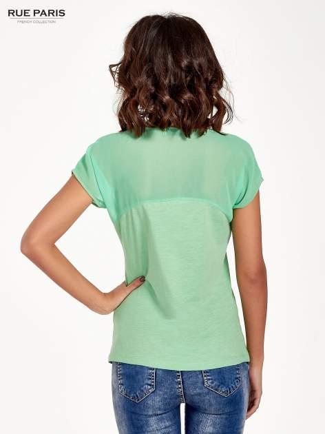 Zielony t-shirt z górą mgiełką                                  zdj.                                  4