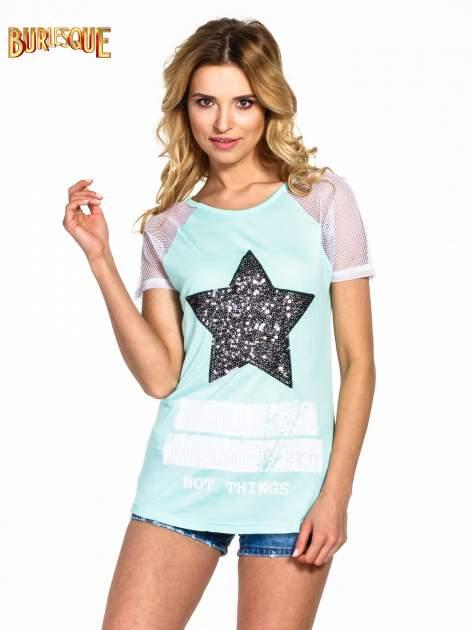 Zielony t-shirt z gwiazdą z cekinów                                  zdj.                                  1