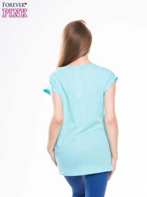 Zielony t-shirt z nadrukiem NATURE                                  zdj.                                  3