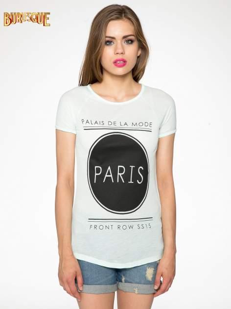 Zielony t-shirt z nadrukiem PARIS                                  zdj.                                  9