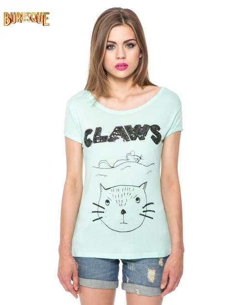 Zielony t-shirt z nadrukiem kota i myszy                                  zdj.                                  12
