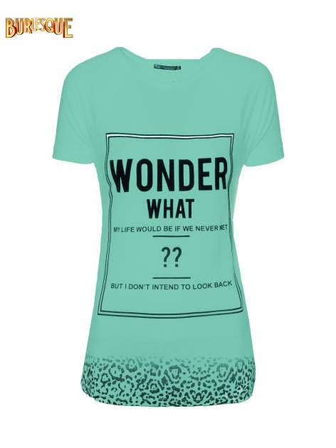 Zielony t-shirt z napisem WONDER WHAT?                                  zdj.                                  8