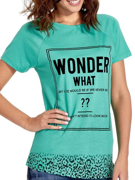 Zielony t-shirt z napisem WONDER WHAT?                                  zdj.                                  5