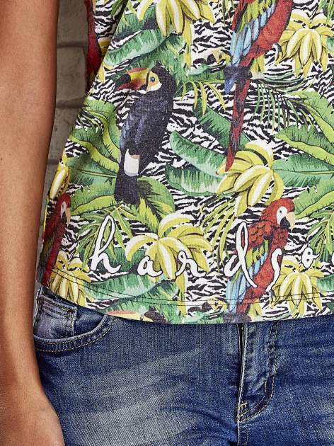 Zielony t-shirt z ptakami i egzotycznym nadrukiem dżungli                                  zdj.                                  6