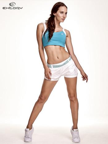 Zielony top stanik sportowy z białymi ramiączkami i wycięciem z tyłu                                  zdj.                                  4