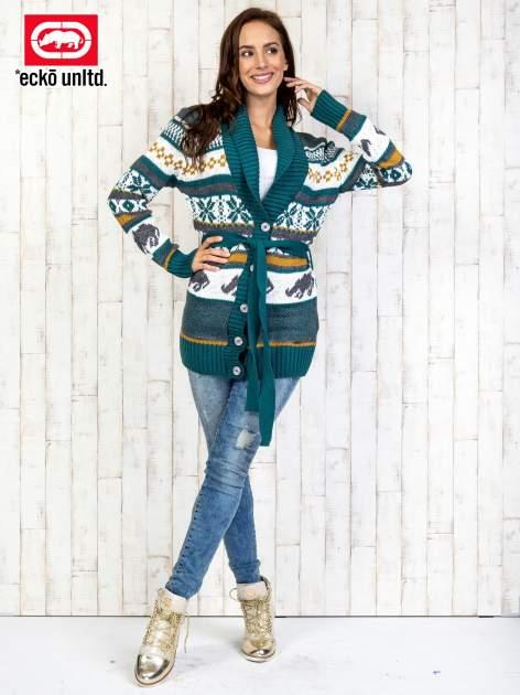 Zielony wzorzysty sweter na guziki                                  zdj.                                  2