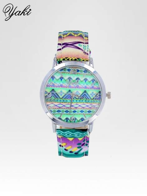 Zielony zegarek damski z motywem azteckim