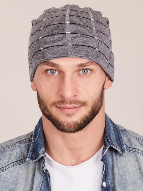 Zimowa męska czapka z dzianiny szara                              zdj.                              1