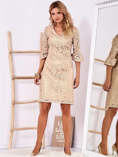 Złota koronkowa sukienka z szerokimi rękawami                              zdj.                              4
