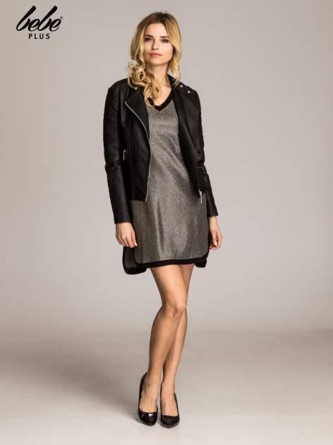 Złota sukienka z czarną lamówką                                  zdj.                                  2