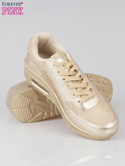 Złote buty sportowe faux leather Desire na podeszwie z poduszką powietrzną                                  zdj.                                  2