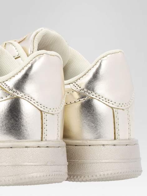 Złote buty sportowe faux leather Mousse na grubej podeszwie                                  zdj.                                  6