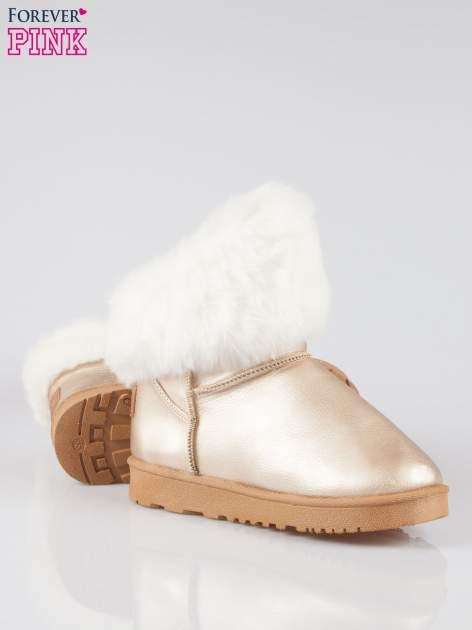 Złote krótkie śniegowce damskie z kożuszkiem                                  zdj.                                  4
