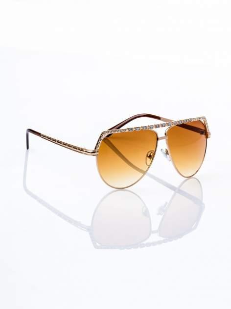 Złote okulary przeciwsłoneczne z cyrkoniami                                  zdj.                                  2
