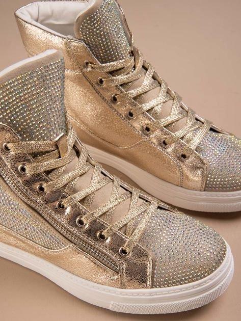 Złote płaskie sneakersy damskie z kryształkami Cristal                                  zdj.                                  1