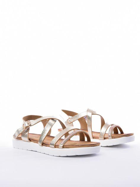 Złote sandały SABATINA z biżuteryjnym paskiem                              zdj.                              2