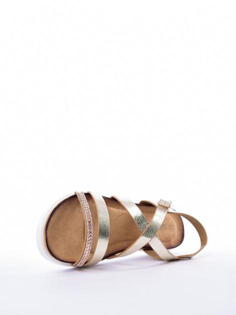 Złote sandały SABATINA z biżuteryjnym paskiem                              zdj.                              5
