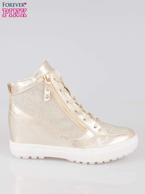 Złote sneakersy damskie z kryształkami                                  zdj.                                  1