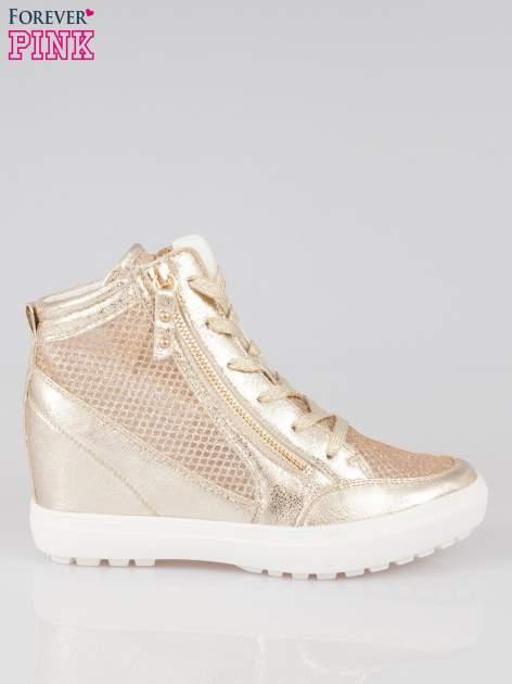 Złote sneakersy damskie z wężową siateczką