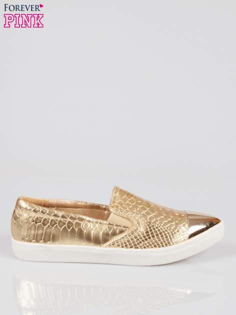 Złote wężowe buty slippers gold cap toe                                  zdj.                                  1