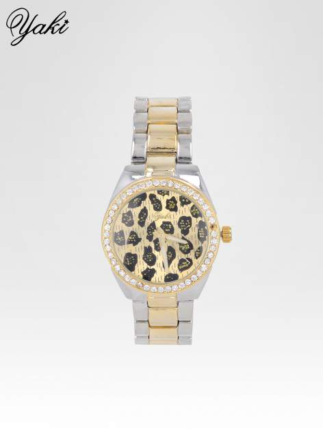 Złoto-srebrny zegarek damski na bransolecie z panterkową tarczą                                  zdj.                                  1