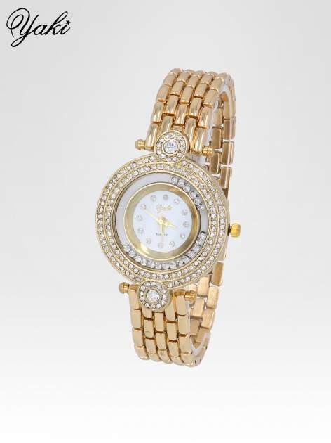 Złoty biżuteryjny zegarek damski z cyrkoniową kopertą                                  zdj.                                  2