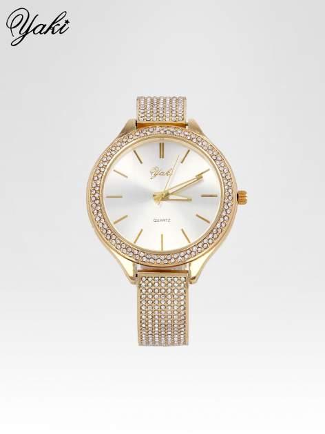Złoty cyrkoniowy zegarek damski na bransolecie