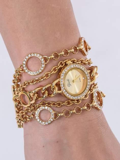 Złoty owijany zegarek damski na łańcuszku                                  zdj.                                  1