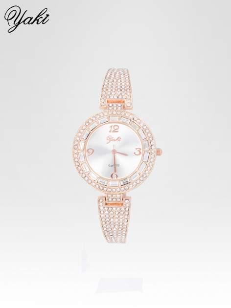 Złoty zegarek biżuteryjny z biała tarczą i cyrkoniami