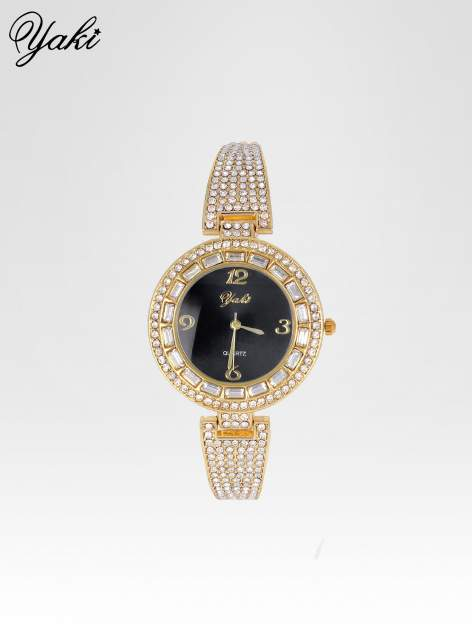 Złoty zegarek biżuteryjny z czarną tarczą i cyrkoniami                                  zdj.                                  1